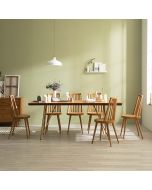 Tavolo Scandinavian Natural Woodslab Table with X Legs 1900 (Gold) Set (Table & 6 Tavolo Chairs)