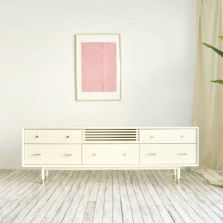 Woody Contemporary TV Console 2000 (Cream White)