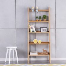 Guri Oak Scandinavian Ladder Book Shelf Rack