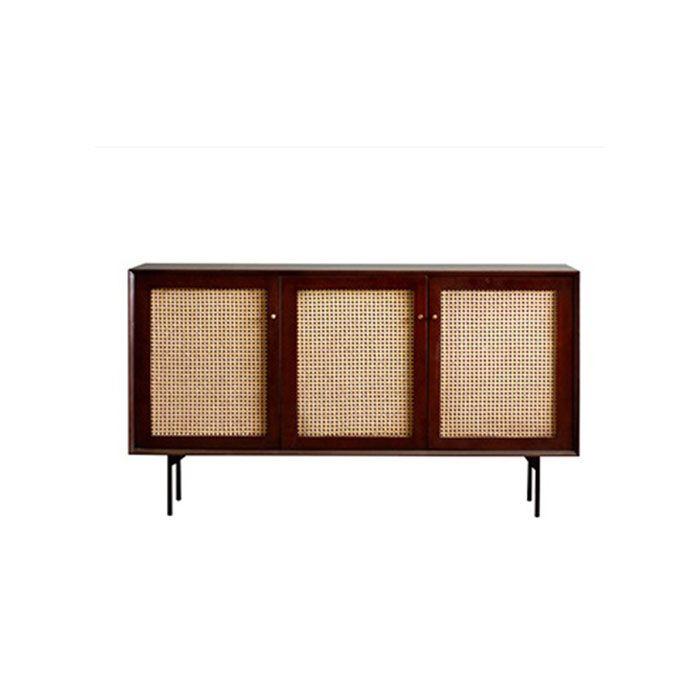 Camille Rattan Wicker Walnut Sideboard Cabinet