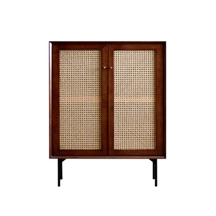 Camille Rattan Wicker Walnut 2 Door Tall Buffet Cabinet