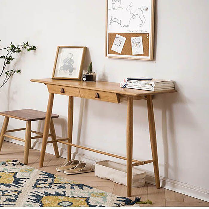 Guri Oak Scandinavian Solid Wood Entryway Console Table