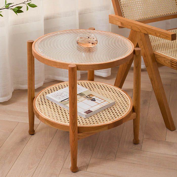 Guri Scandinavian Rattan Side Table