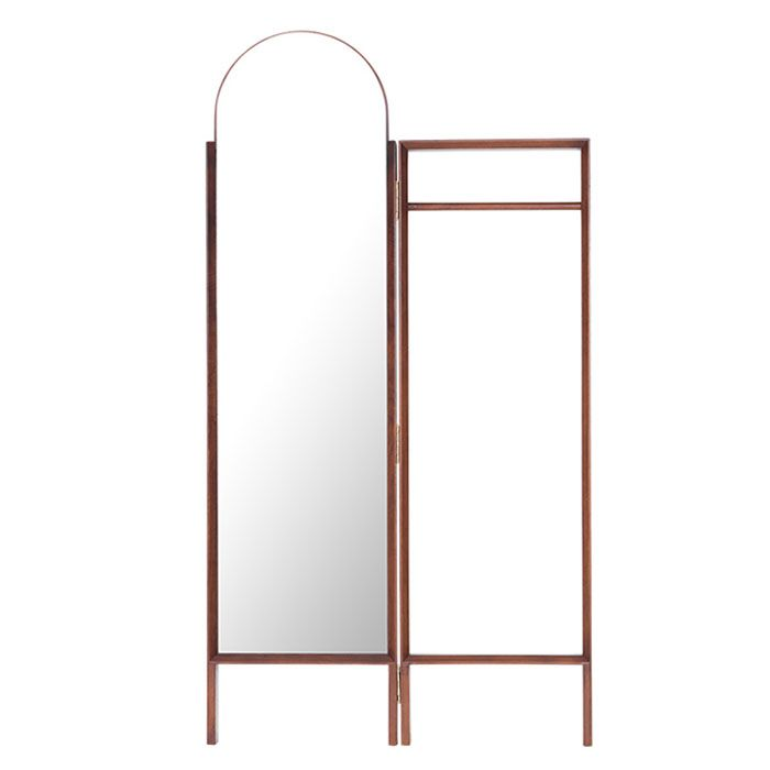 Heim Forrest Walnut Full Length Standing Mirror and Clothing Rack