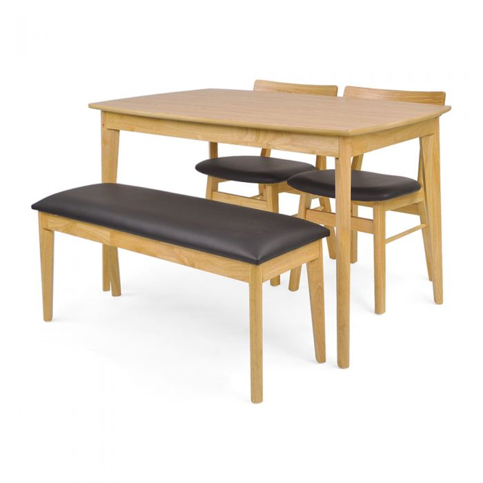 Mujis Japandi 4 Seater Dining Set 1200 (Table, 2 Chairs & 1 Bench)