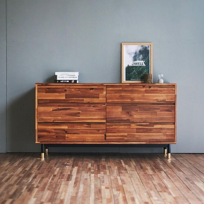 Dwell Acacia 6 Drawer Wide Chest Cabinet