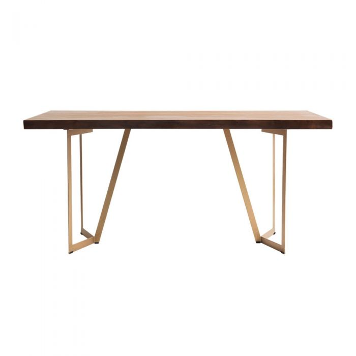 Tavolo Scandinavian Natural Woodslab Table with V Legs 1600 (Gold)