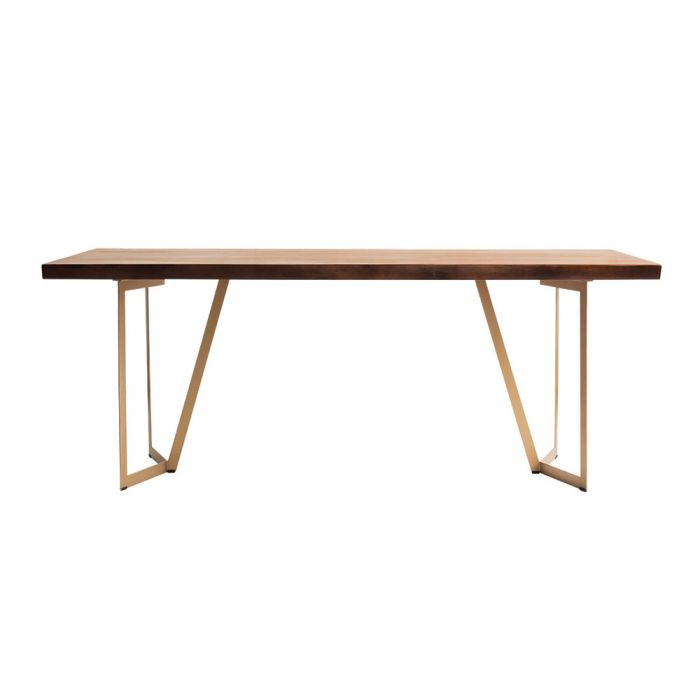 Tavolo Scandinavian Natural Woodslab Table with V Legs 1900 (Gold)