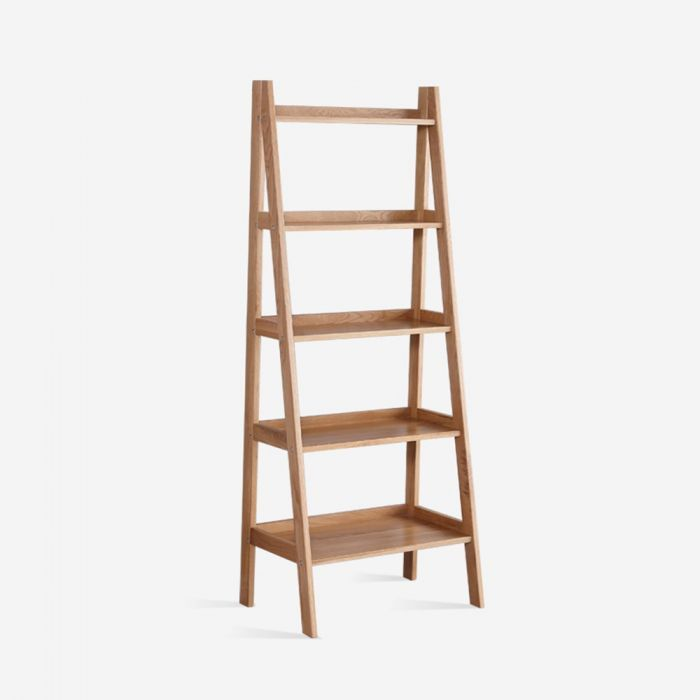 Guri Oak Scandinavian Ladder Book Shelf Rack