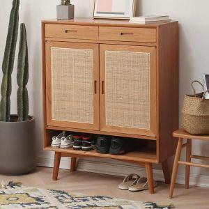 Guri Scandinavian Solid Wood Rattan Shoe Cabinet