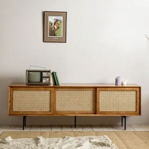 Camille Rattan Wicker TV Console Natural (1800)
