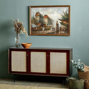 Camille Rattan Wicker Walnut Sideboard Cabinet