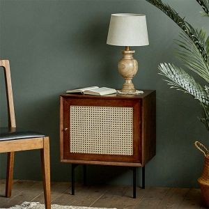 Camille Rattan Wicker Walnut Side Table