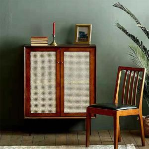 Camille Rattan Wicker Walnut 2 Door Tall Buffet Cabinet
