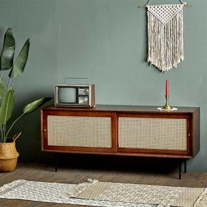 Camille Rattan Wicker Walnut TV Console (1400)