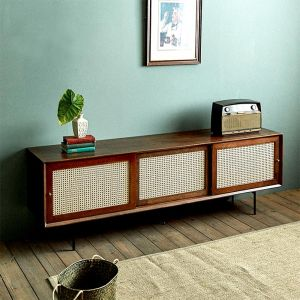 Camille Rattan Wicker Walnut TV Console (1800)