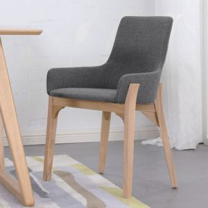 Danielle Scandinavian Fabric Dining Chair - Dark Grey