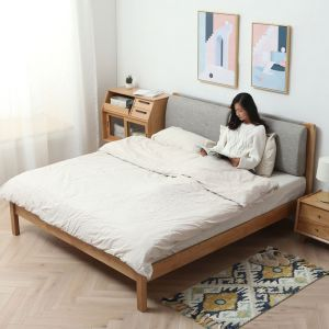 Guri Oak Scandinavian Solid Wood Removable Fabric Headrest Bed Frame