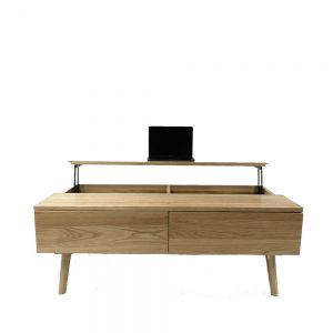 Guri Oak Scandinavian Solid Wood Coffee Table (Lift-up System)