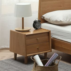 Guri Oak Scandinavian 2 Drawer Bed Side Table