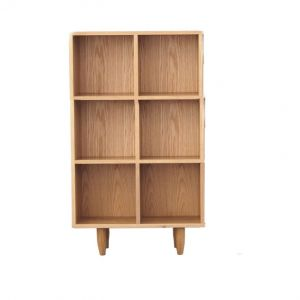 Guri Oak Scandinavian Tall Bookshelf (6 Box with Backing )