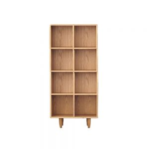 Guri Oak Scandinavian Tall Bookshelf (8 Box with Backing) (Pre-Order Only)