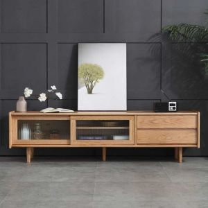 Guri Oak Scandinavian Solid Wood See Through TV Cabinet
