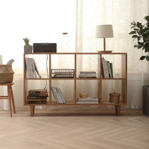 Guri Oak Scandinavian Wide Bookshelf (8 Box)