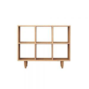 Guri Oak Scandinavian Wide Bookshelf (6 Box)