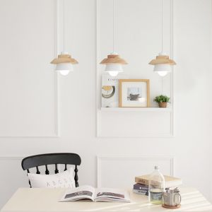 Hana Japanese Wooden Pendant Lamp (White, Triple)