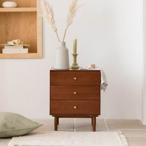 Heim Forrest Walnut 3 Drawers Side Table