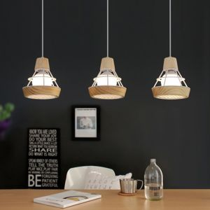 Hiko Japanese Wooden Cage Pendant Lamp (White, Triple)