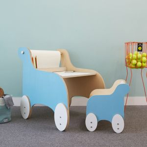 Lolo Kids Pony Rider Drawing Table Set with Chair (Sky Blue) (Clearance)