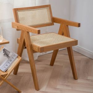 Guri Scandinavian Solid Wood Rattan Arm Chair