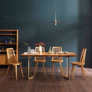 Tavolo Scandinavian Natural Woodslab Table with V Legs 1600 (Gold) Set (Table & 4 Tavolo Chairs)
