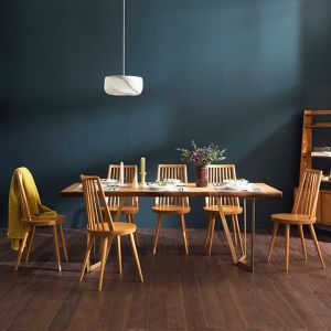 Tavolo Scandinavian Natural Woodslab Table with V Legs 1900 (Gold) Set (Table & 6 Tavolo Chairs)