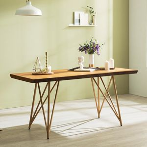 Tavolo Scandinavian Natural Woodslab Table with X Legs 1600 (Gold)
