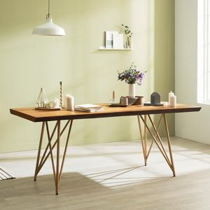 Tavolo Scandinavian Natural Woodslab Table with X Legs 1900 (Gold)