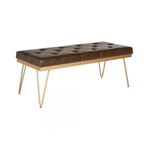 Tavolo Faux Leather Gold Frame Bench 1200