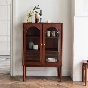 Verso Neo-Vintage Walnut See-Through Glass Cabinet