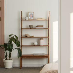 Voet Retro Brown Ladder Book Shelf Rack