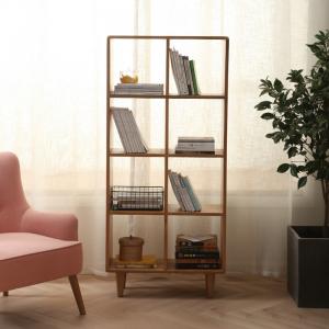 Guri Oak Scandinavian Tall Bookshelf (8 Box )