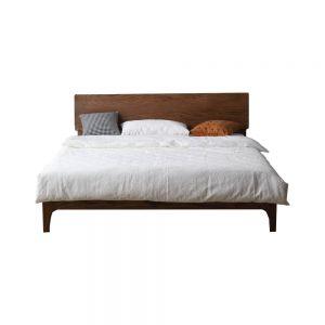 Yasu Walnut Stain Solid Oak Smart Bed Frame (Queen) 1.9m
