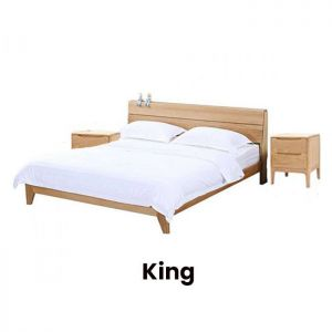 Yasu Nature Solid Oak Bed Frame (King) and 2 Minimalist Bedside Tables Set