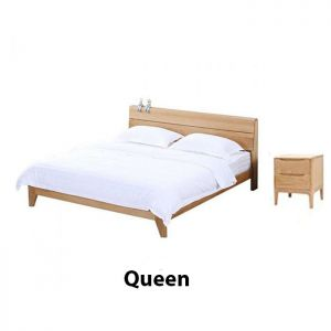 Yasu_Nature_Solid_Oak_Bed_Frame_Queen_and_2_Minimalist_Bedside_Table_Set