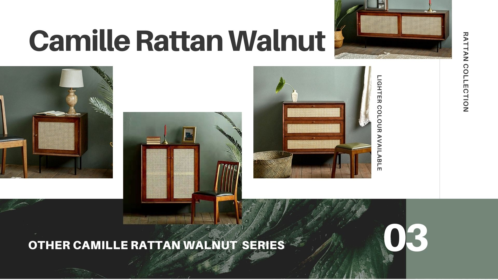 Camille Rattan Walnut Collection