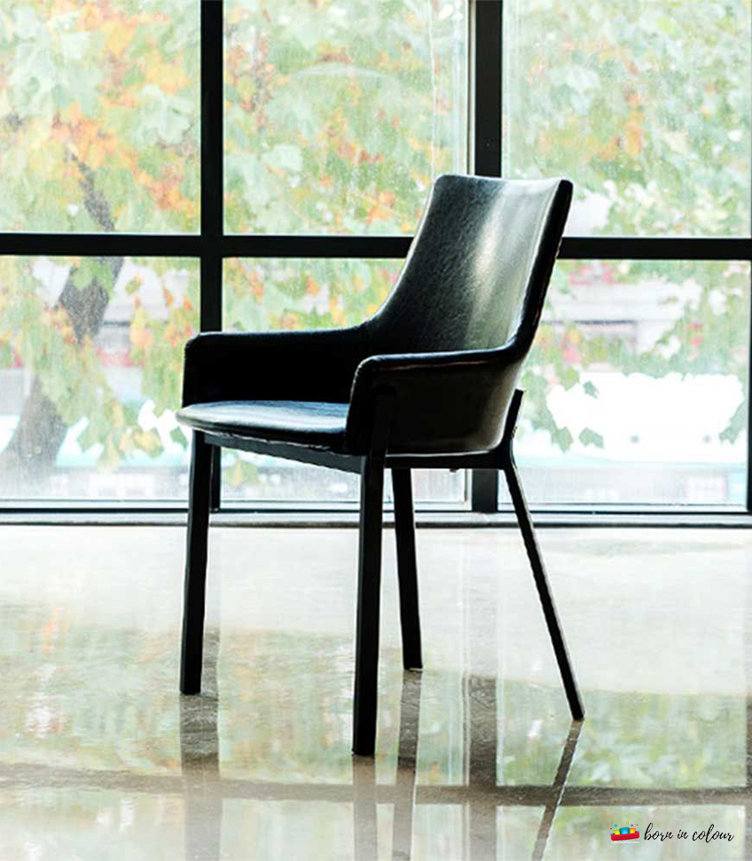 Luxurious Ebony Leather Dining Chair