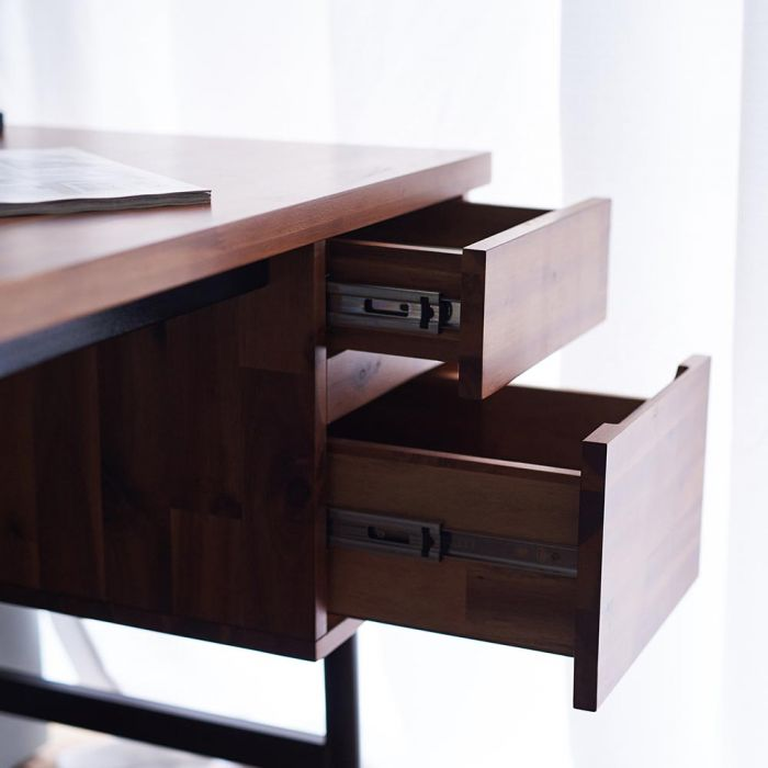 Dwell Acacia Study Desk Zoom In Drawers