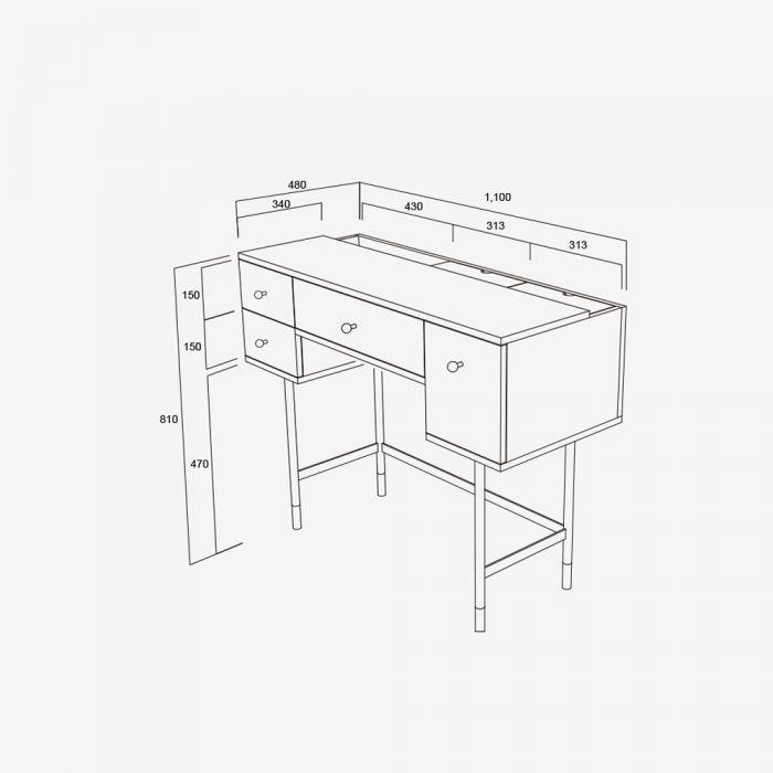 Londoner Kinfolk Industrial Desk Vintage Measurements