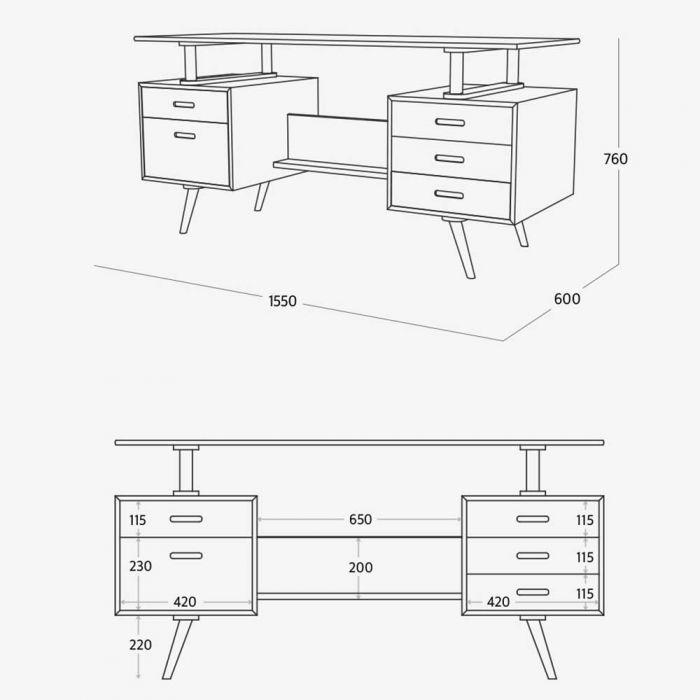 New Retro Floating Desk Measurements